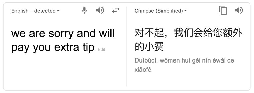 Google Translate extra tip for cab drivers