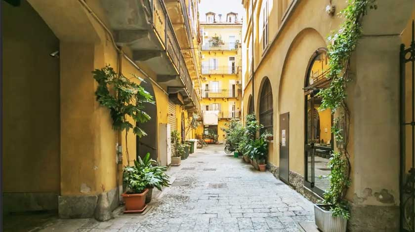 Milan city courtyard